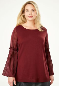 Sheer Bell Sleeve Sweater,