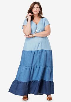 Tiered Tencel® Maxi Dress, MULTI WASH