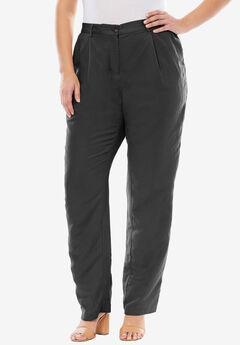 Linen Blend Pants, BLACK