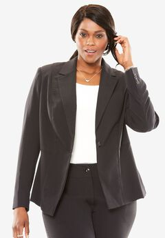Single Button Bi-Stretch Blazer,