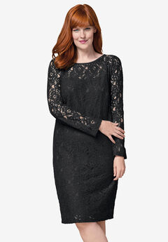 Lace Shift Dress, BLACK LACE