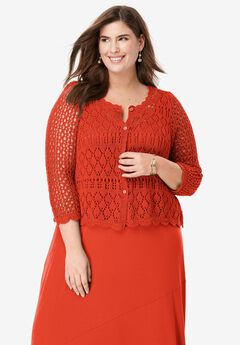 Crochet Sweater, FLAME RED