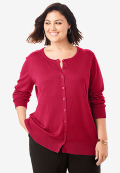 Fine Gauge Cardigan, CLASSIC RED