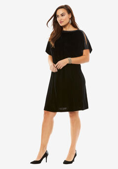 Ribbon Trim Velvet Shift Dress,