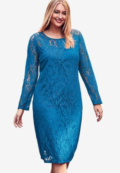 Lace Shift Dress, ISLAND BLUE