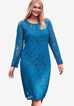 Lace Shift Dress, ISLAND BLUE