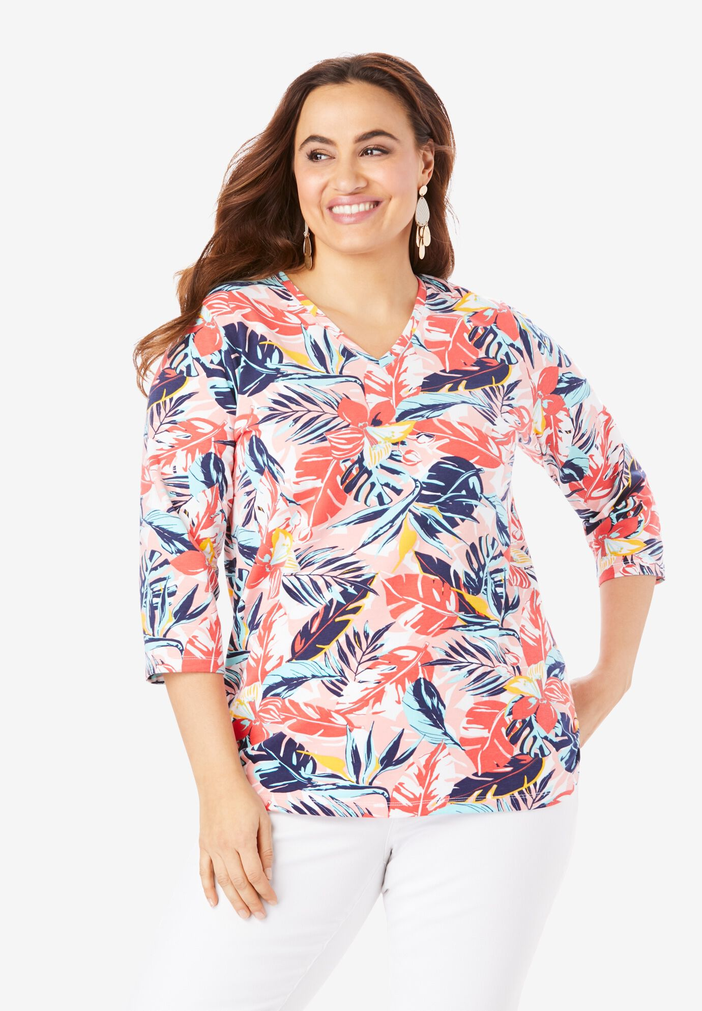 Plus Size Border Print Top 3//4 Length Bell Sleeves Sofo Curves size 16 to 36 NEW