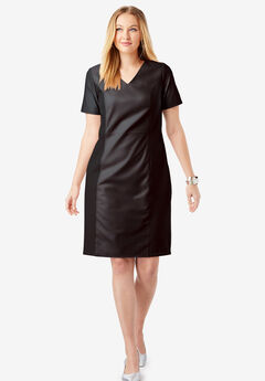 Leather Ponte Sheath Dress, BLACK