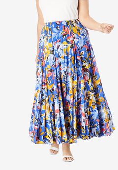 Cotton Crinkled Maxi Skirt, TRUE BLUE LEAF