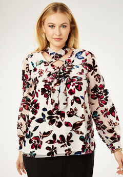 Tie Blouse, MULTI BURNOUT FLORAL