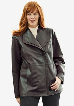 Leather Jacket with Oversized Wing Collar,
