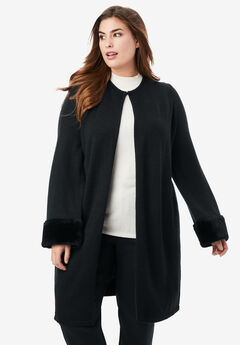 Faux Fur Cuff Cardigan, BLACK