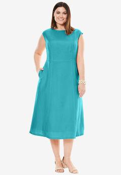 Fit & Flare Linen Dress,