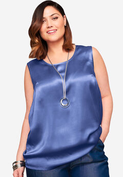 Sleeveless Satin Blouse,