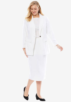 Single-Breasted Skirt Suit, WHITE
