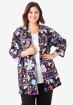 Kimono Jacket, BLACK FLORAL SCARF
