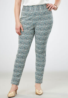 Tummy Control Twill Ankle Pant, SEA BLUE SPECKLE DOT