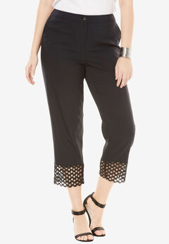 Lace Trim Crop Pant, BLACK