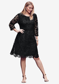 Lace Fit & Flare Dress, BLACK