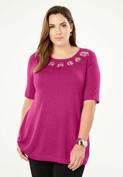 Cotton Cashmere Beaded Sweater,