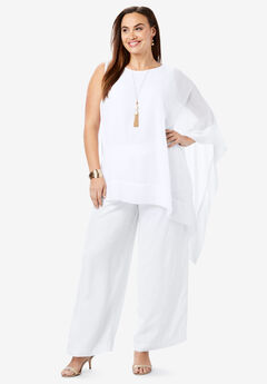 2-Piece Pant Set, WHITE