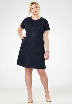 Refined A-Line Denim Dress,