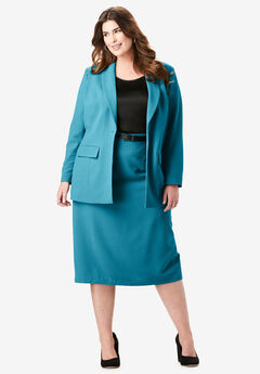 Single-Breasted Skirt Suit, DEEP TEAL