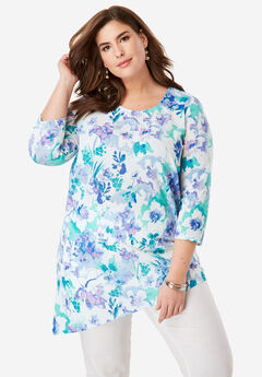 Asymmetrical Linen Tunic, WHITE BLOSSOM FLORAL