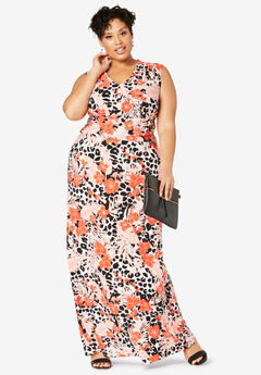 V-Neck Maxi Dress, FLAME RED TROPICAL LEOPARD