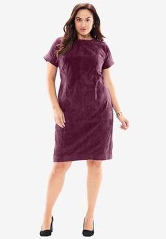 Soft Suede Dress with Crewneck,