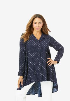 Hi-Low Georgette Tunic, NAVY DOTS