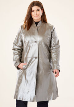 Leather Swing Coat, PEARLIZED PEWTER