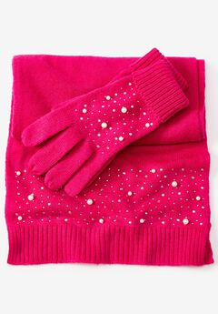 Cotton Cashmere Scarf and Glove Set,