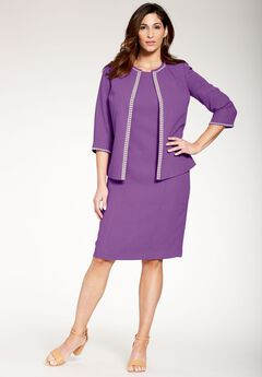 Pearl Trim Jacket Dress,