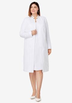Embellished Coat and Dress Suit, WHITE