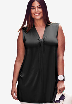 V-Neck Tank With Knot Front,