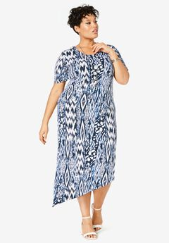 Asymmetrical Hem Dress, NAVY ABSTRACT ANIMAL