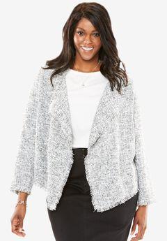 Open Front Draped Tweed Jacket,