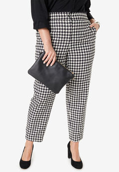 Bi-Stretch Ankle Pant, IVORY HOUNDSTOOTH