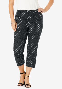 Stretch Poplin Crop Pant, BLACK DOT