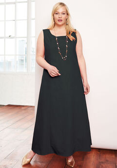 Denim Maxi Dress, BLACK