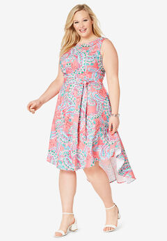Tie-Waist Fit & Flare Dress, VIVID FIESTA PAISLEY