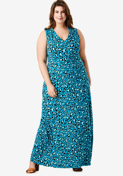 V-Neck Maxi Dress, TURQ GRAPHIC LEOPARD
