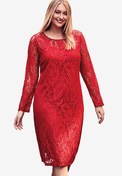Lace Shift Dress, BRIGHT RUBY