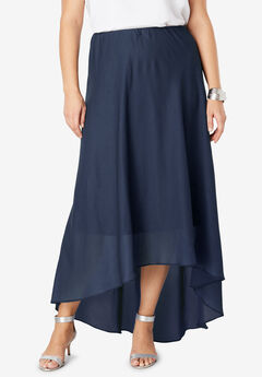 Hi-Low Maxi Skirt, NAVY