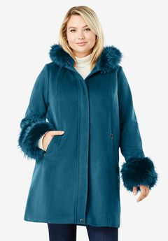 Hooded Faux Fur Trim Coat,