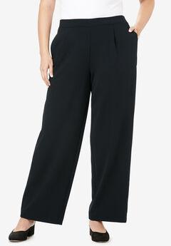 Signature Knit Crepe Trouser, BLACK