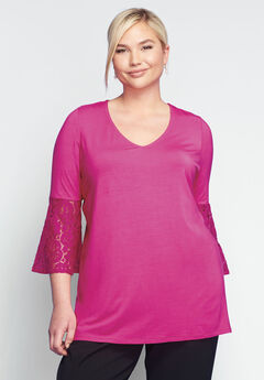 Lace Bell Sleeve Tunic, BERRY
