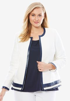 Fringe Trim Tweed Jacket,