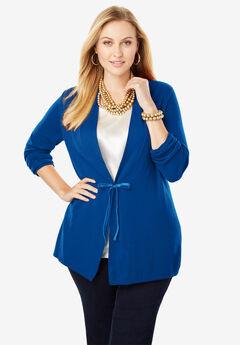 Velvet Tie-Front Cotton Cashmere Sweater,